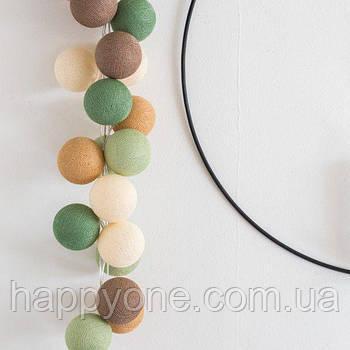 """Тайська LED-гірлянда """"green Forest"""" (10 кульок) на батарейках"""