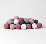 "Тайская LED-гирлянда ""Dirty Rose"" (20 шариков) на батарейках, фото 2"