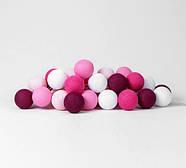 "Тайская LED-гирлянда ""Pink"" (20 шариков) на батарейках, фото 2"