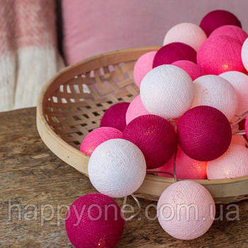 "Тайская LED-гирлянда ""Pink"" (10 шариков) на батарейках"