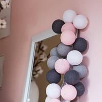 """Тайская гирлянда """"Pink-grey"""" (20 шариков) петля, фото 1"""