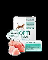 Optimeal  для стерилизованых кошек рацион  с индейкой и куриным филе в соусе 85 г