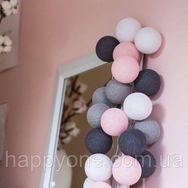 "Тайская LED-гирлянда ""Pink-grey"" (10 шариков) на батарейках"