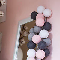 "Тайская LED-гирлянда ""Pink-grey"" (10 шариков) на батарейках, фото 1"
