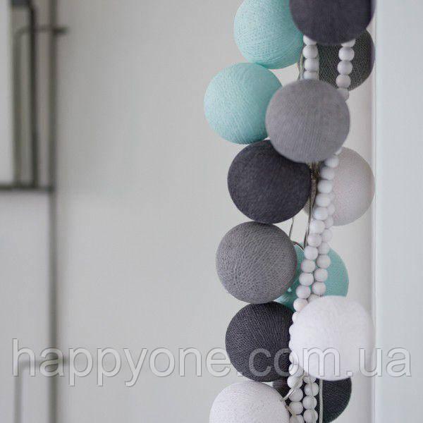 """Тайская гирлянда """"Aqua-grey"""" (20 шариков) линия"""