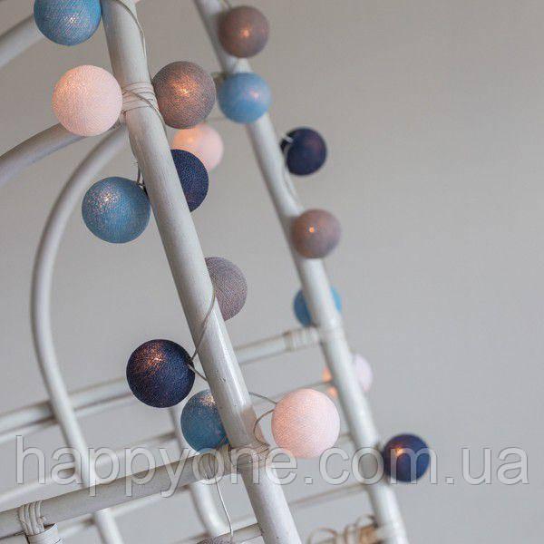 """Тайская гирлянда """"Sailor blue"""" (20 шариков) петля"""