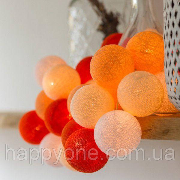 """Тайская гирлянда """"Orange"""" (20 шариков) петля"""