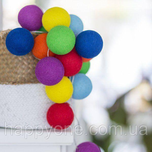 "Тайская LED-гирлянда ""Rainbow"" (10 шариков) на батарейках"