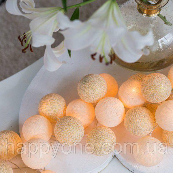 """Тайская гирлянда """"Shell-Gold"""" (20 шариков) петля"""