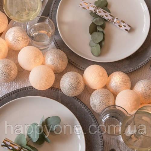"""Тайская LED-гирлянда """"Shell-Silver"""" (35 шариков)"""