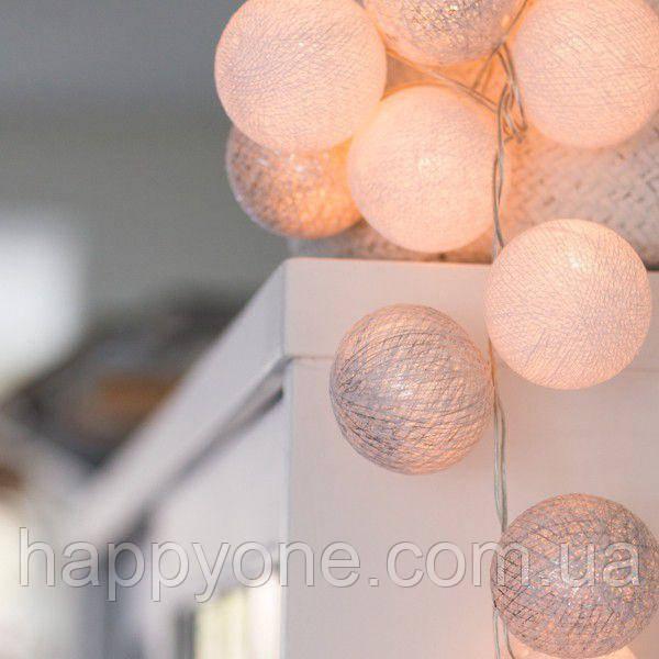 """Тайская LED-гирлянда """"White-Silver"""" (20 шариков) на батарейках"""