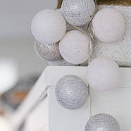 """Тайская LED-гирлянда """"White-Silver"""" (20 шариков) на батарейках, фото 2"""