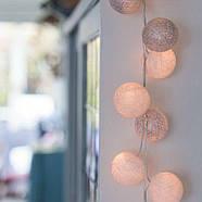 """Тайская LED-гирлянда """"White-Silver"""" (20 шариков) на батарейках, фото 5"""
