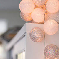 """Тайская LED-гирлянда """"White-Silver"""" (10 шариков) на батарейках, фото 1"""