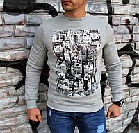 Стильный и тёплый свитшот на флисе от немецкой фирмы Clockhouse Серый Мужской Свитшот