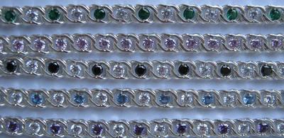 Серебряные браслеты Арабский бисмарк с камнями в разной цветовой гамме