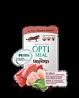 Optimeal консерва для дорослі. кішок раціон з телятиною, курячим філе і шпинатом в соусі 85г/12шт