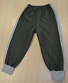 Детские начесные оливковые штаны со вставками
