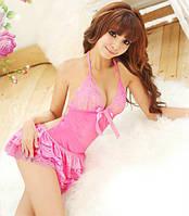 Кружевное розовое платье №96