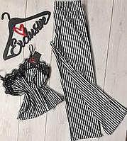 Велюровый комплект в полоску с кружевом штаны и майка, одежда для дома., фото 1