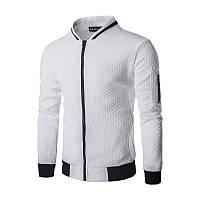 Легкая летняя мужская куртка ветровка! Белая куртка бомбер на молнии!, фото 1