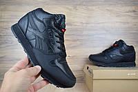 Мужские зимние кроссовки Reebok Classic черные, кожи и нубук (ТОП реплика)