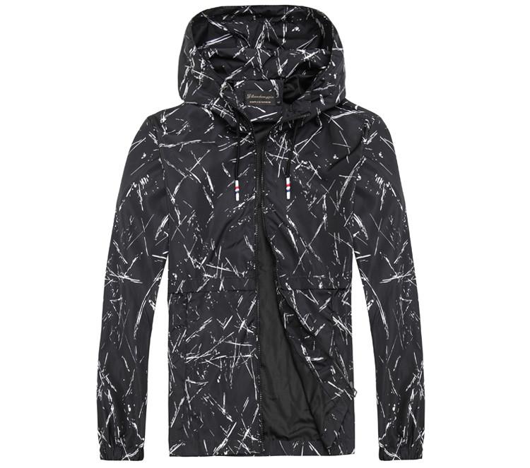 Легкая летняя мужская куртка ветровка! Черная куртка с капюшоном на молнии!
