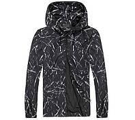 Легкая летняя мужская куртка ветровка! Черная куртка с капюшоном на молнии!, фото 1