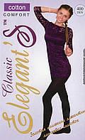 Колготки женские х/б Elegant's Classic Cotton 400 Den, 4 размер, чёрные