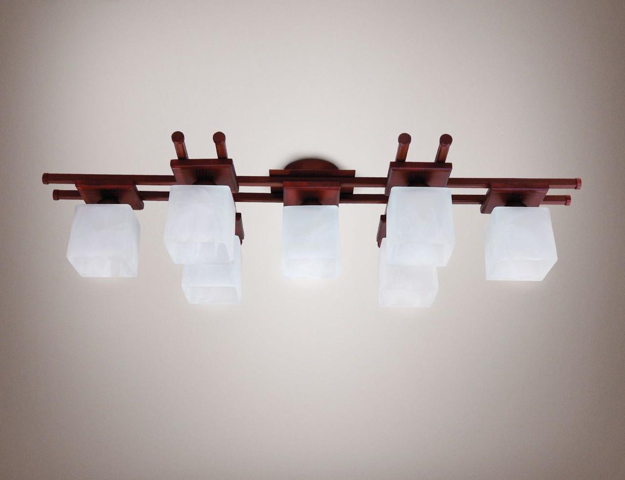 Люстра 7-ми лампова, металева, дерев'яна, зал 14677
