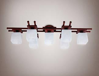 Люстра 7-ми ламповая, металлическая, деревянная, зал 14677