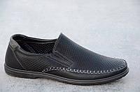 Туфли, мокасины мужские летние черные искусственная кожа стильные (Код: Ш552а)