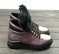 Женские спортивные ботинки бронзовые с мехом, фото 1
