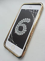 Золотой бампер для Iphone 6 с камнями Сваровски (1 ряд), фото 1