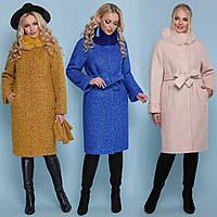 Зимнее женское пальто ниже колена с мехом и поясом