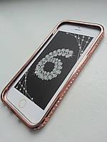 Розовое золото бампер для Iphone 6 6S с камнями Сваровски, фото 1