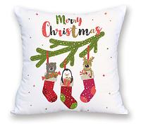 Белая велюровая декоративная подушка с милыми животными 45х45 см, подушка на подарок