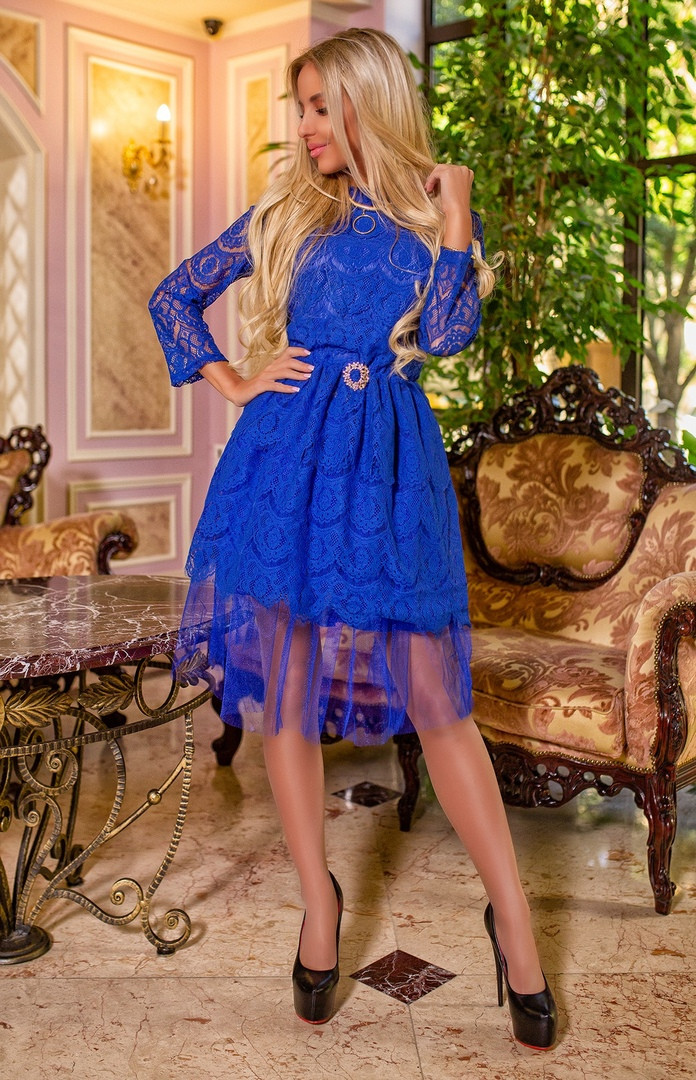 23e5bd6c21c Женское элегантное платье из гипюра с фатином в расцветках. ПН-21-1117