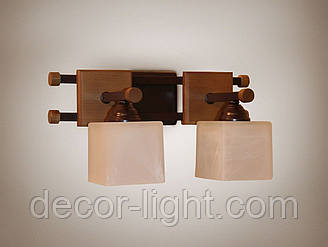 Бра 2-х ламповое, металлическое, деревянное 14612