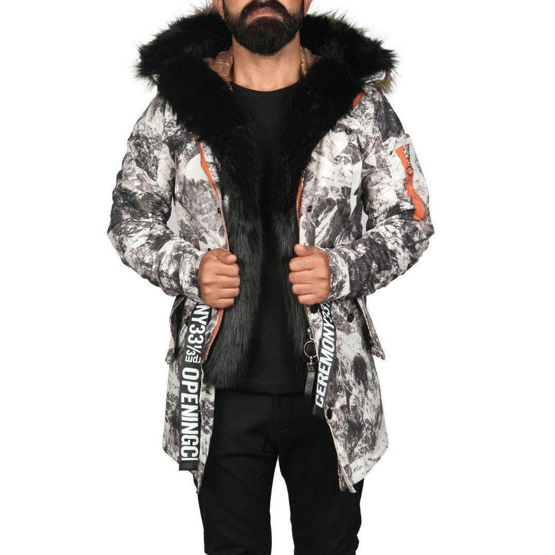 Мужская парка с мехом зимний камуфляж