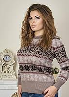 Теплый женский свитер с расписным орнаментом р. 46-52