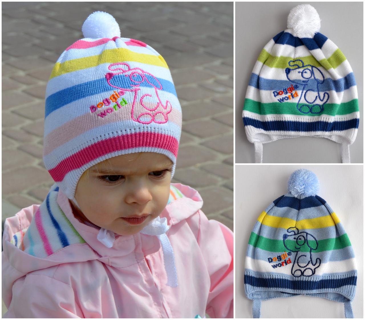 Дог, детская шапка. Хлопок 1 слой. р.44-46 Бел+роз+желтый