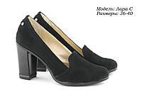 Женские замшевые туфли на каблуке., фото 1