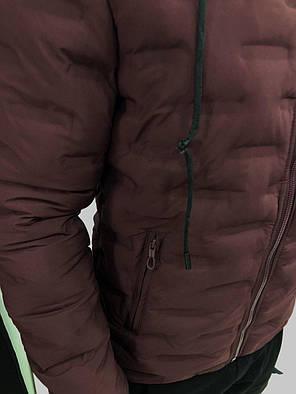 Мужская зимняя куртка на молнии бордовая, фото 2