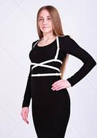 Платье женское длинное в пол черного цвета с белой портупеей, платье теплое облегающего кроя по фигуре, фото 1