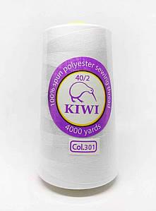 """Нитки швейные """"Kiwi"""" белые 4000 ярдов №40/2 (301)"""