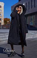 Плащевое пальто объемное с большим капюшоном 14PA142, фото 1