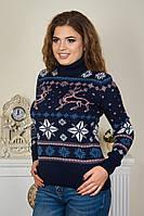 Новогодний свитер с оленями в снежинках под горло р. 46-52