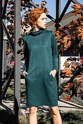 Женское замшевое платье с длинным рукавом 42,44,46,48