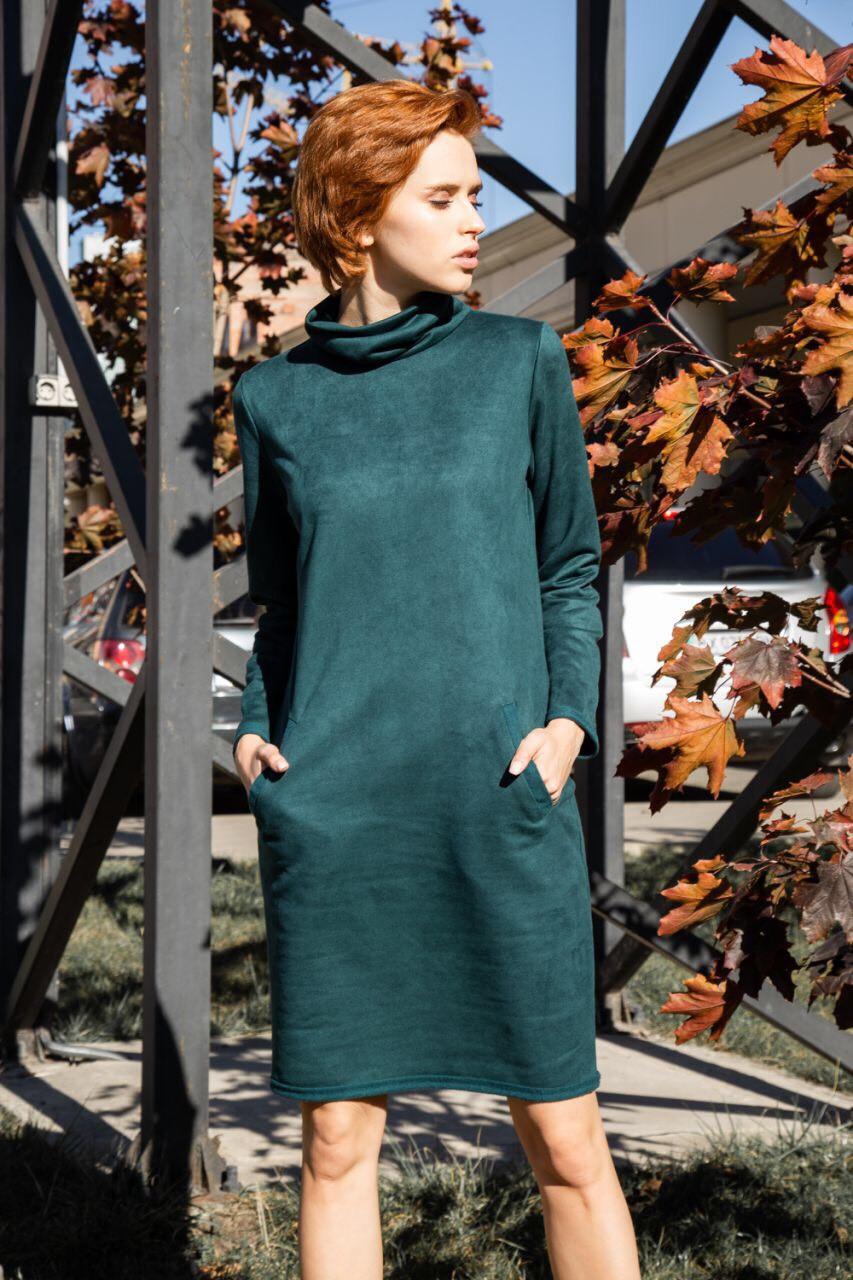 Замшеве жіноча сукня з довгим рукавом